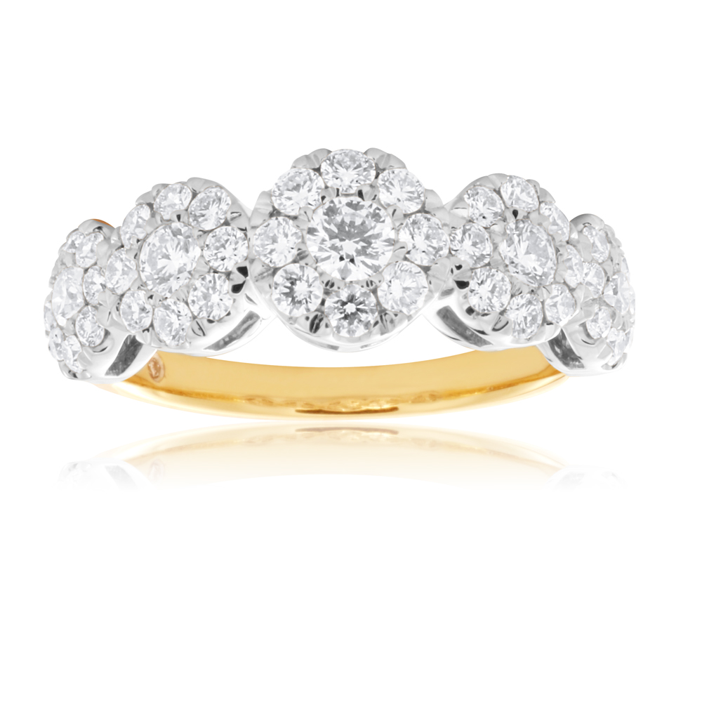 Flawless 1 Carat 9ct Yellow & White Gold Diamond Ring