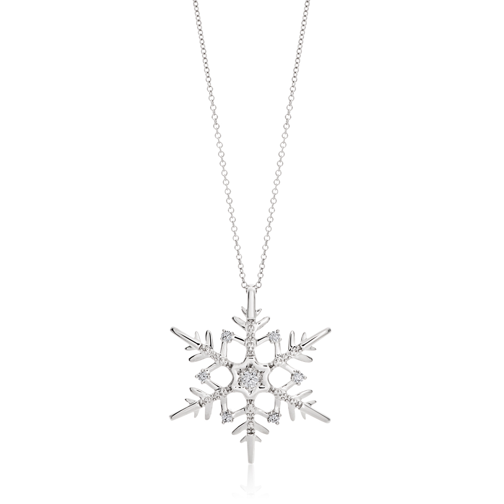 Flawless 10 Points 9ct White Gold Pendant - Chain Included