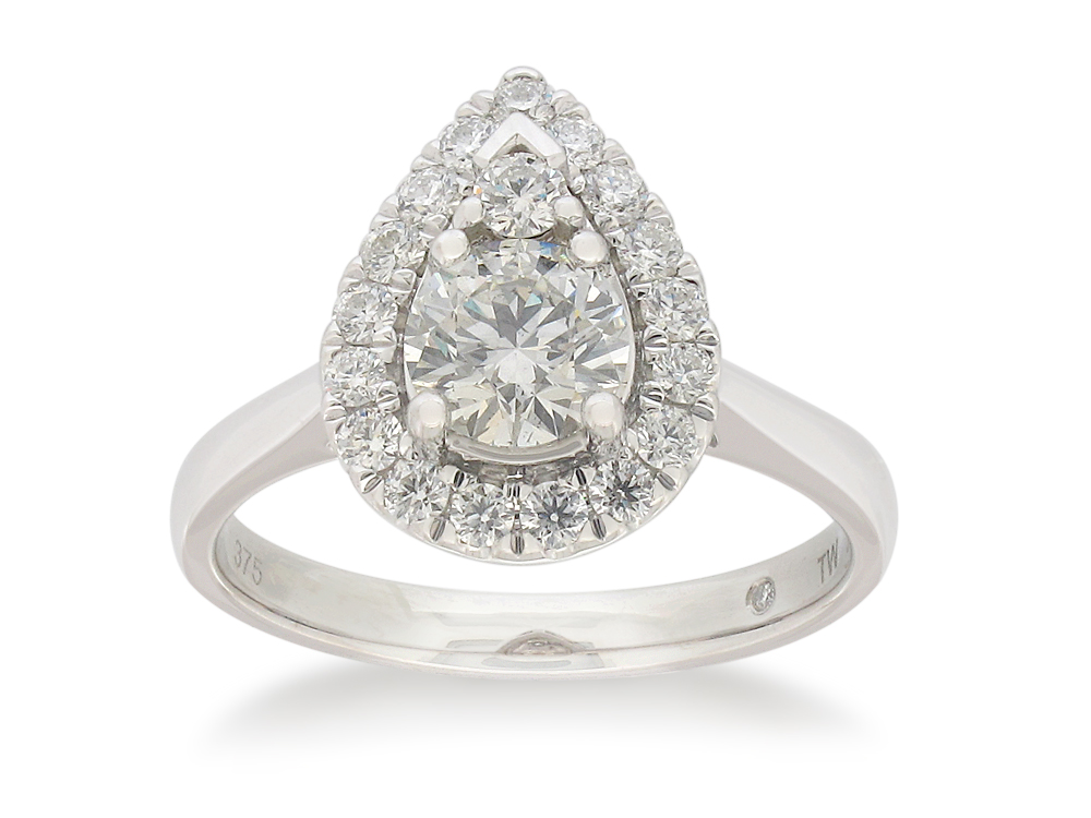 Flawless Cut 9ct White Gold Pear Shape Diamond Ring (TW=1ct)