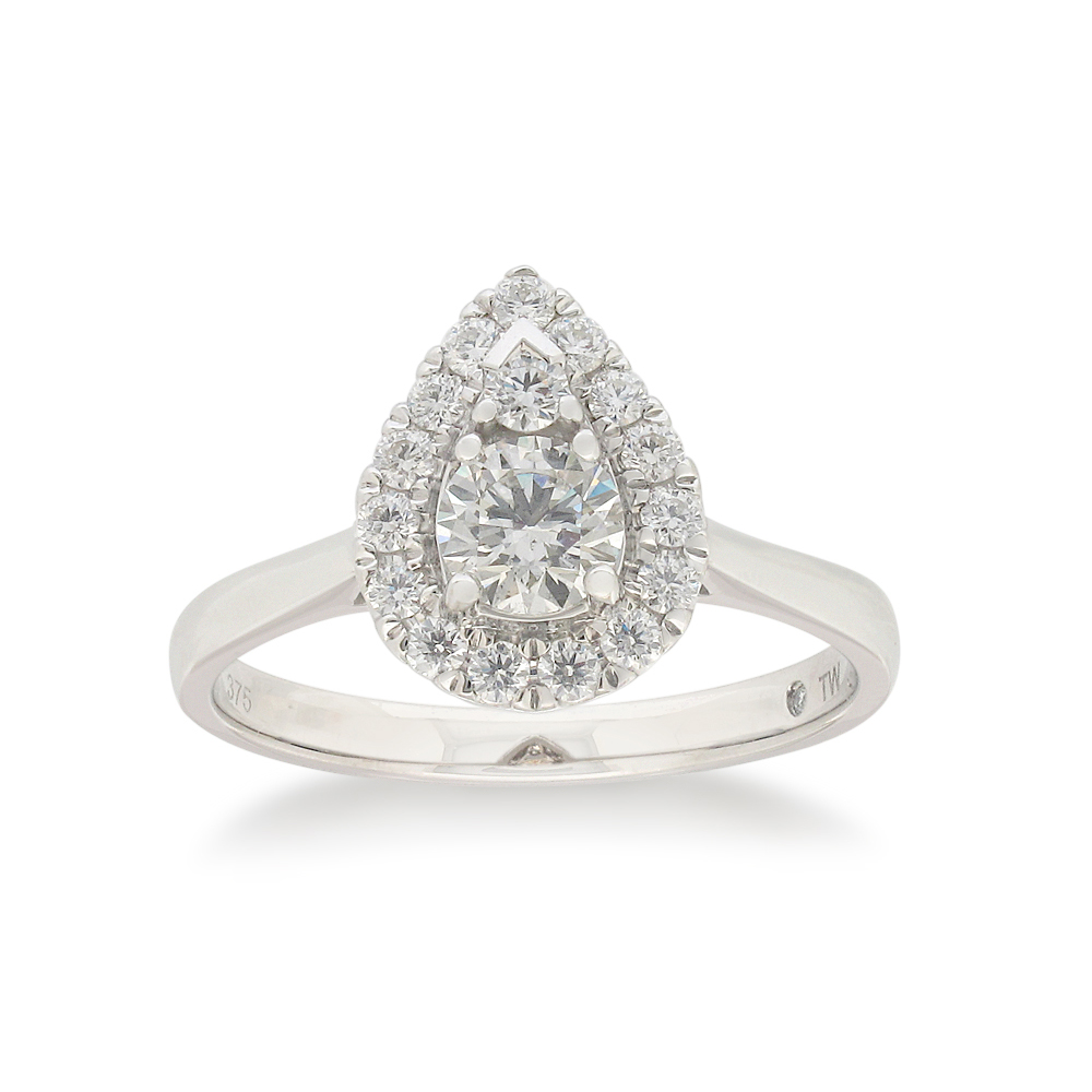 Flawless Cut 9ct White Gold Pear Shape Diamond Ring (TW=3/4CT)
