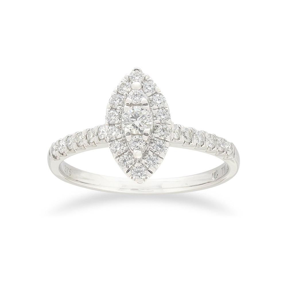 Flawless 1/2 carat Diamond Ring in 9ct white gold