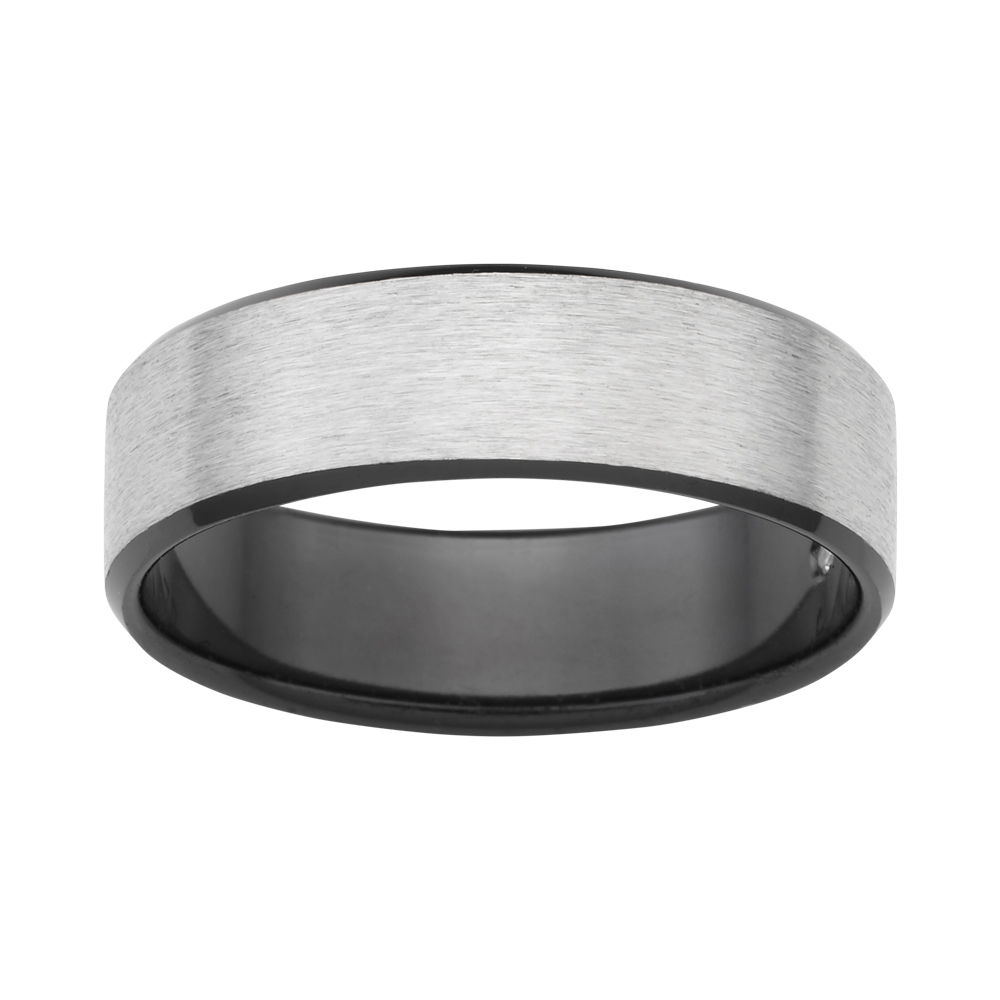 Flawless Cut Titanium and Zirconium Flat Bevelled Brushed Finished 7mm Ring