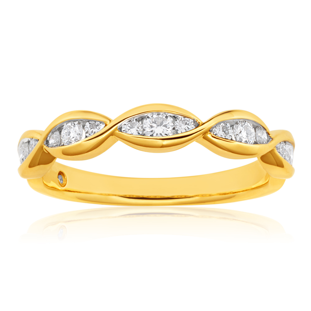 Flawless 9ct Yellow Gold Twist Enternity Diamond Band (TW=30Points)