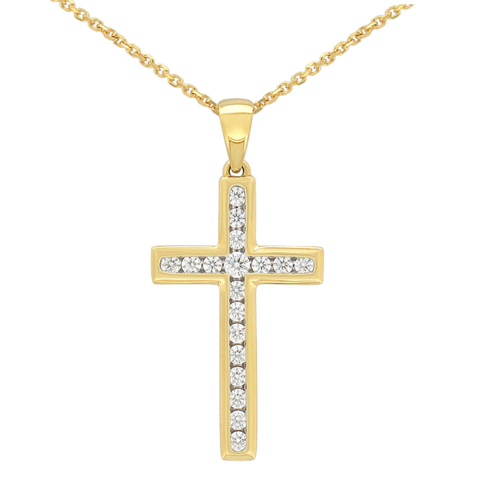 Flawless 9ct Yellow Gold Cross Pendant (TW=1/4 carat)