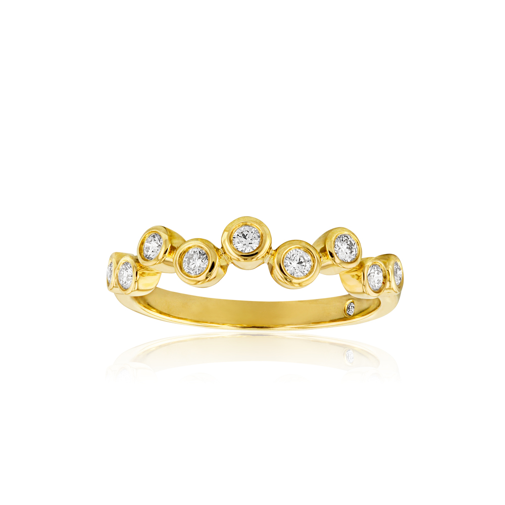 Flawless 1/5 Carat Diamond Bezel Ring in 9ct Yellow Gold