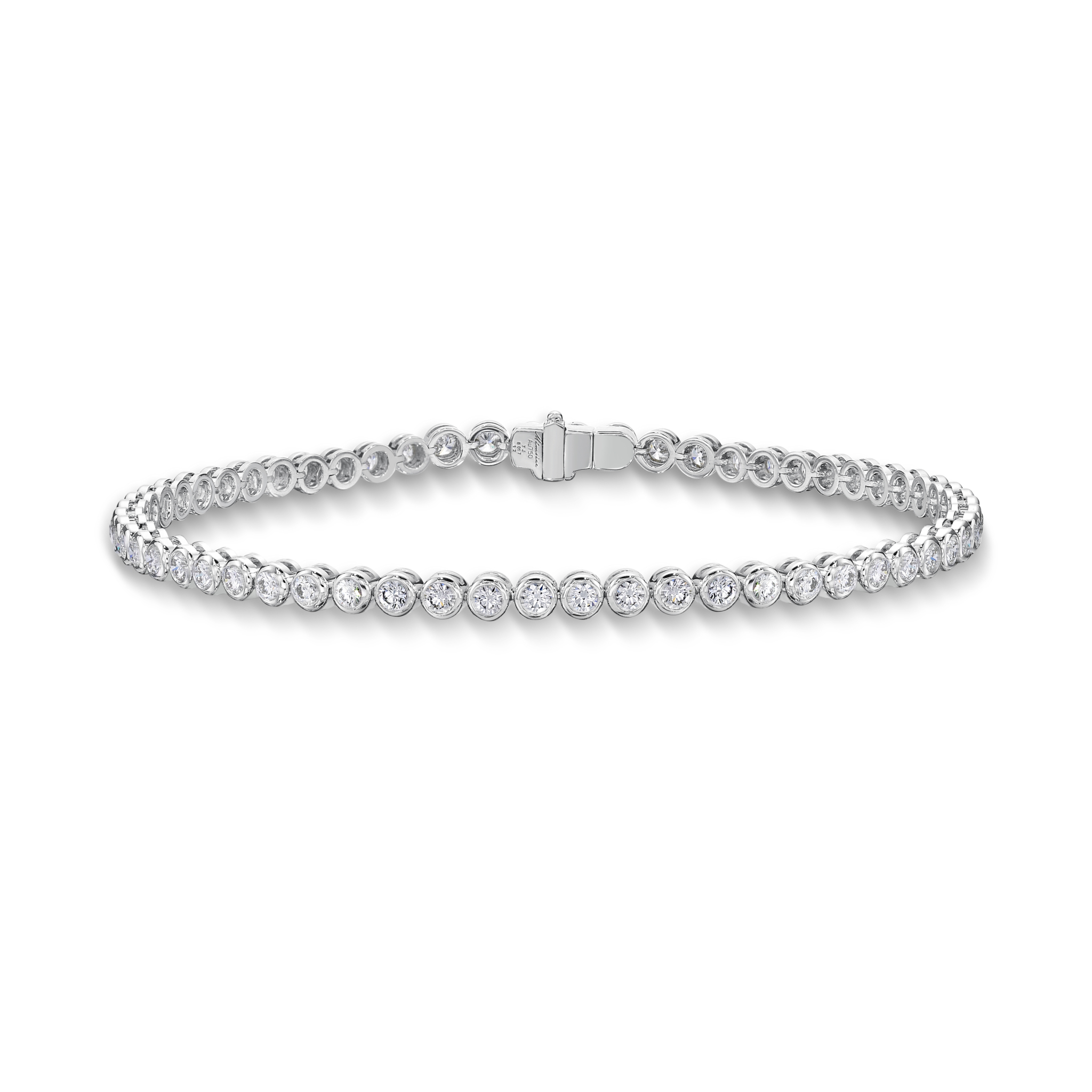 Memoire 18ct White Gold 1.50 Carat Diamond Bezal Tennis Bracelet