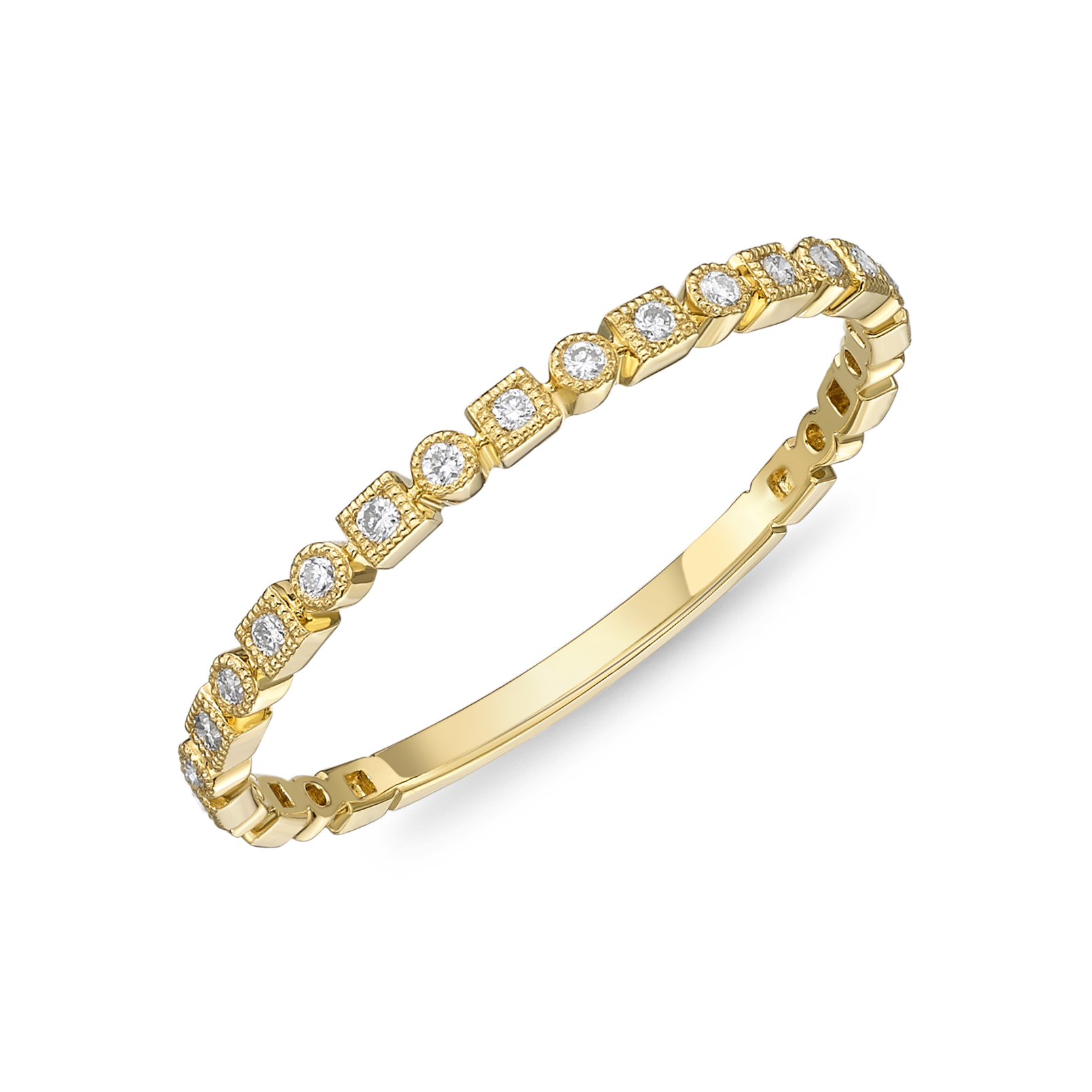 Memoire 18ct Yellow Gold Vintage Square and Round Stack Ring with 17 Diamonds