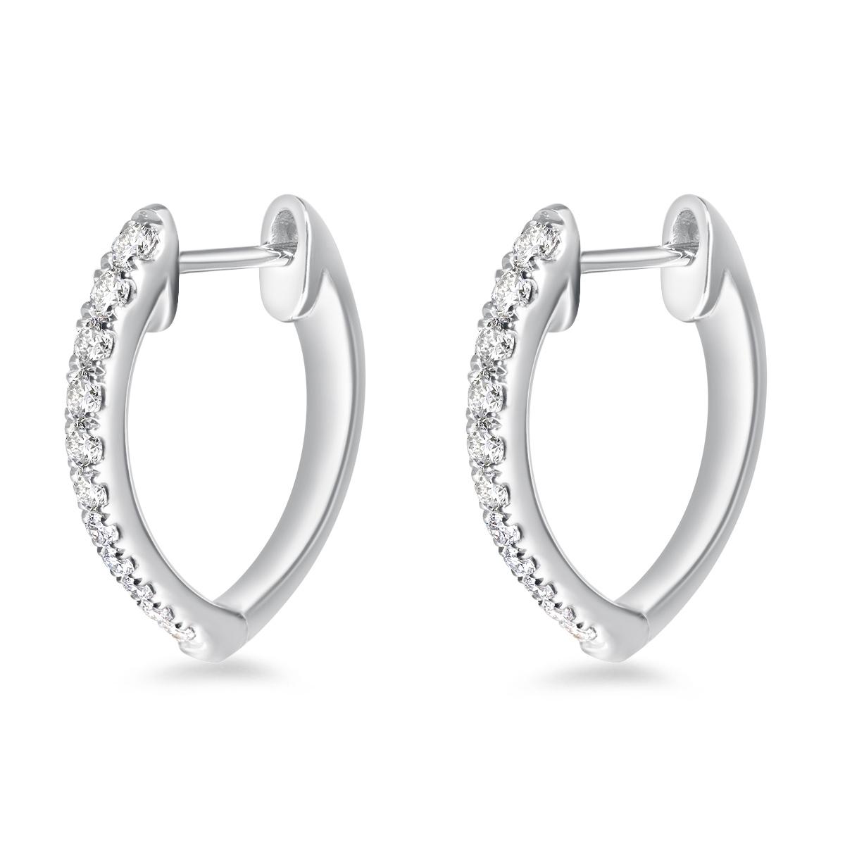 Memoire 18ct White Gold 0.30 Carat Diamond Imperial Hoop Earrings 16X14mm