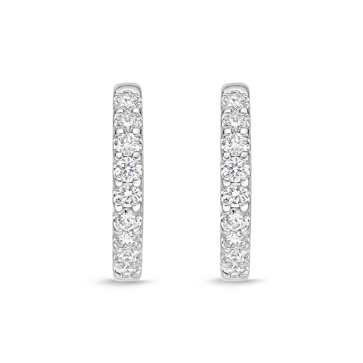 Memoire 18ct White Gold 1/4 Carat Diamond Huggies 12x12mm