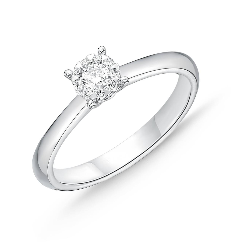 Memoire 18ct White Gold 0.15 Carat Diamond Bouquet Solitaire Ring