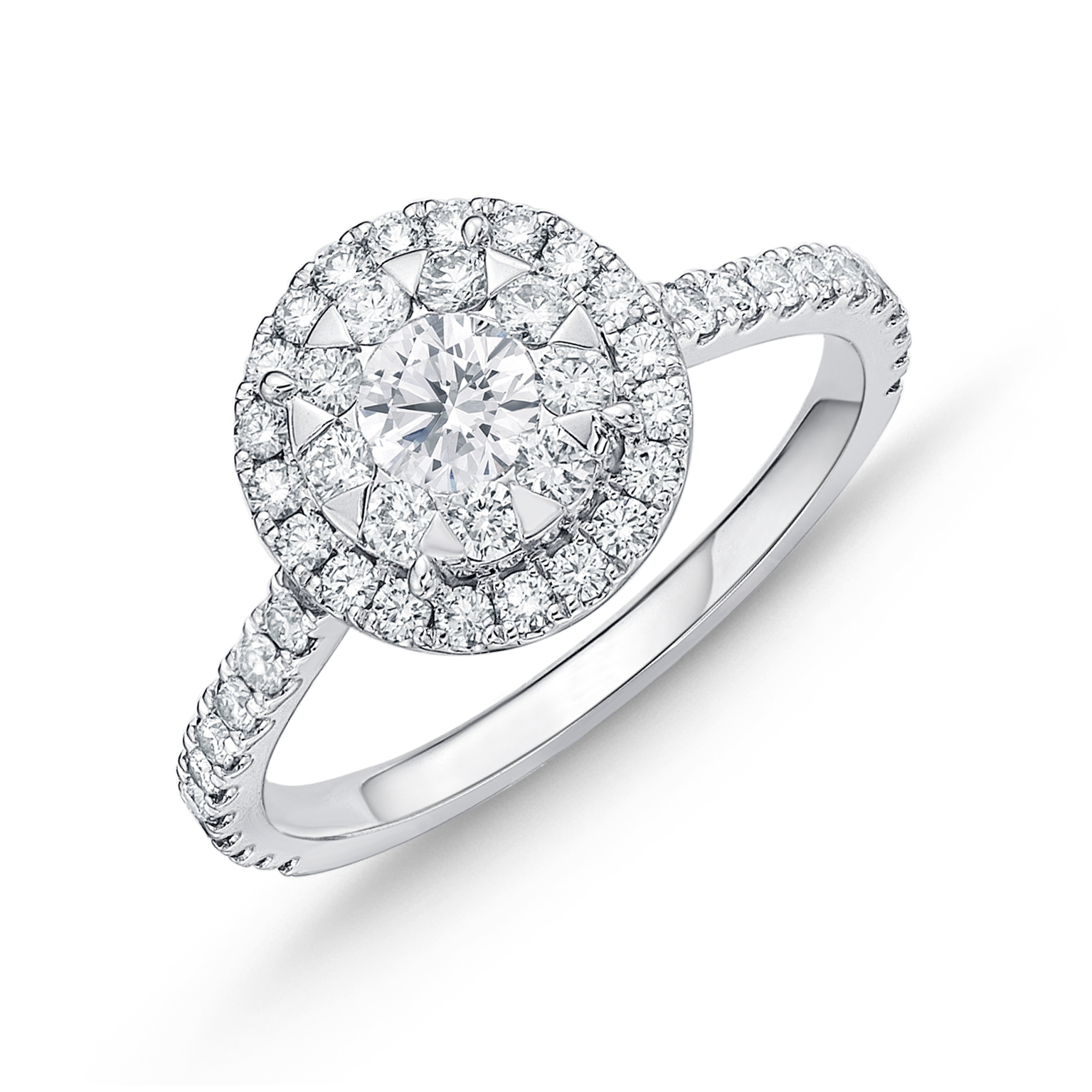 Memoire 18ct White Gold 0.90 Carat Diamond Bouquet Halo Solitaire Ring