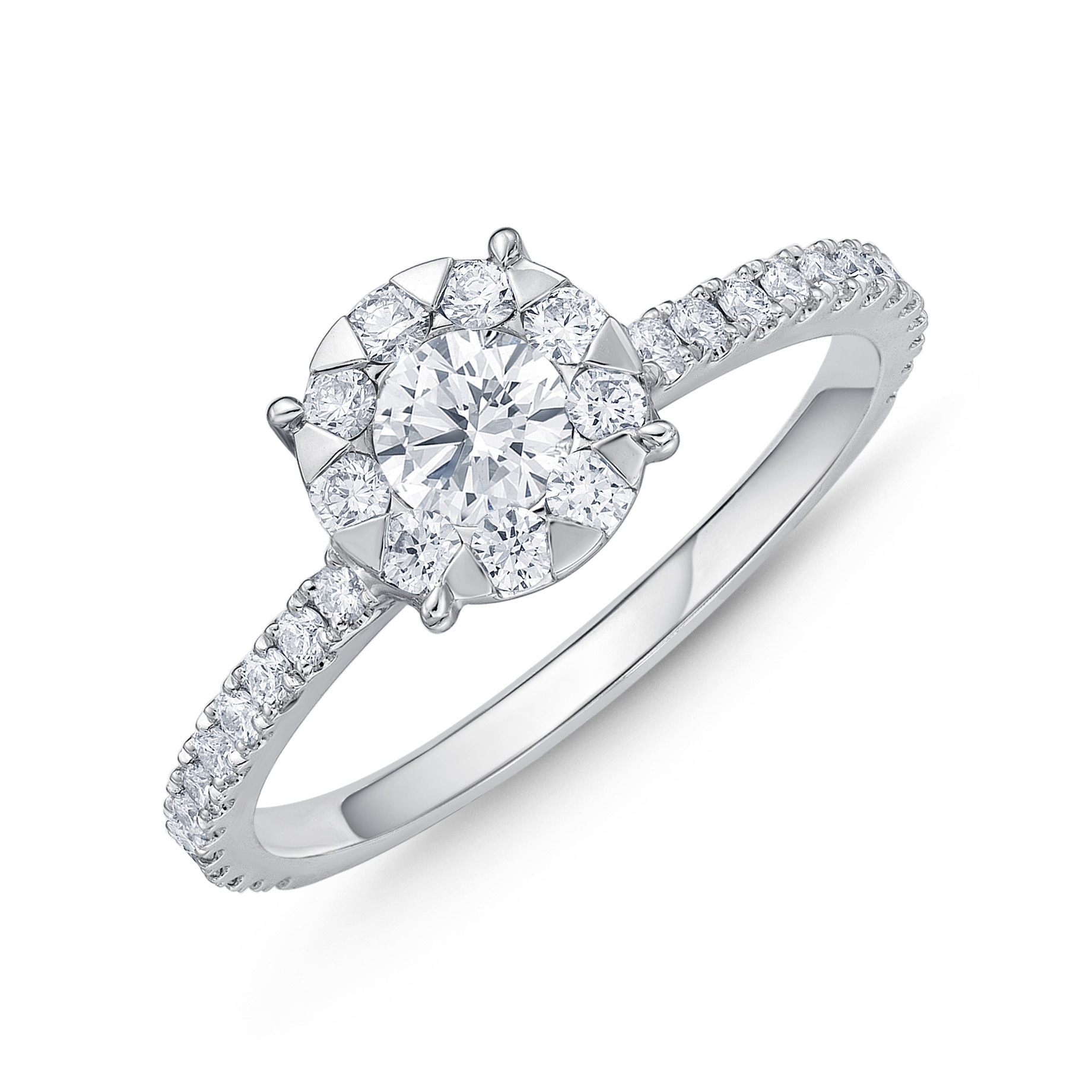 Memoire 18ct White Gold 0.45 Carat Diamond Bouquet Halo Solitaire Ring