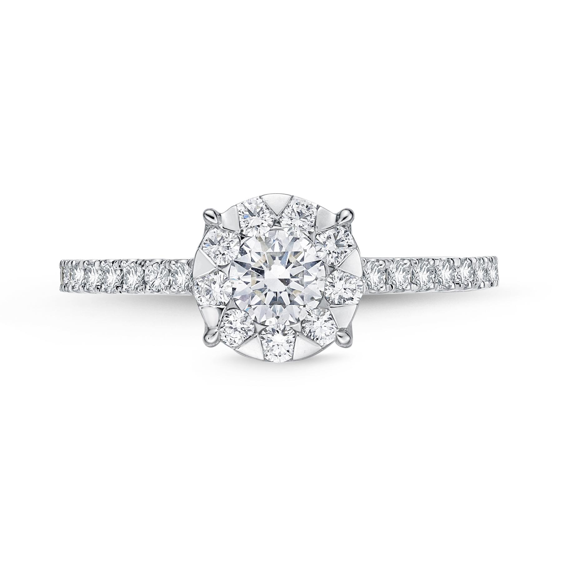 Memoire 18ct White Gold 0.45 Carat Diamond Bouquet Halo Solitaire Ring