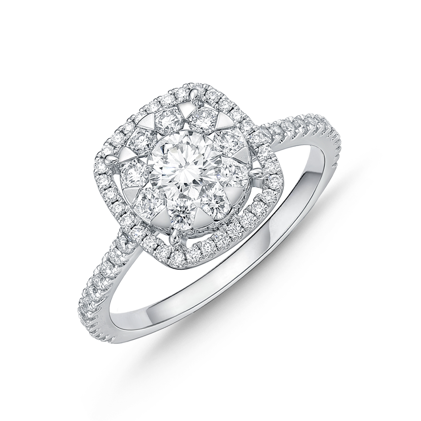 Memoire 18ct White Gold 0.60 Carat Diamond Bouquet Cushion Halo Solitaire Ring