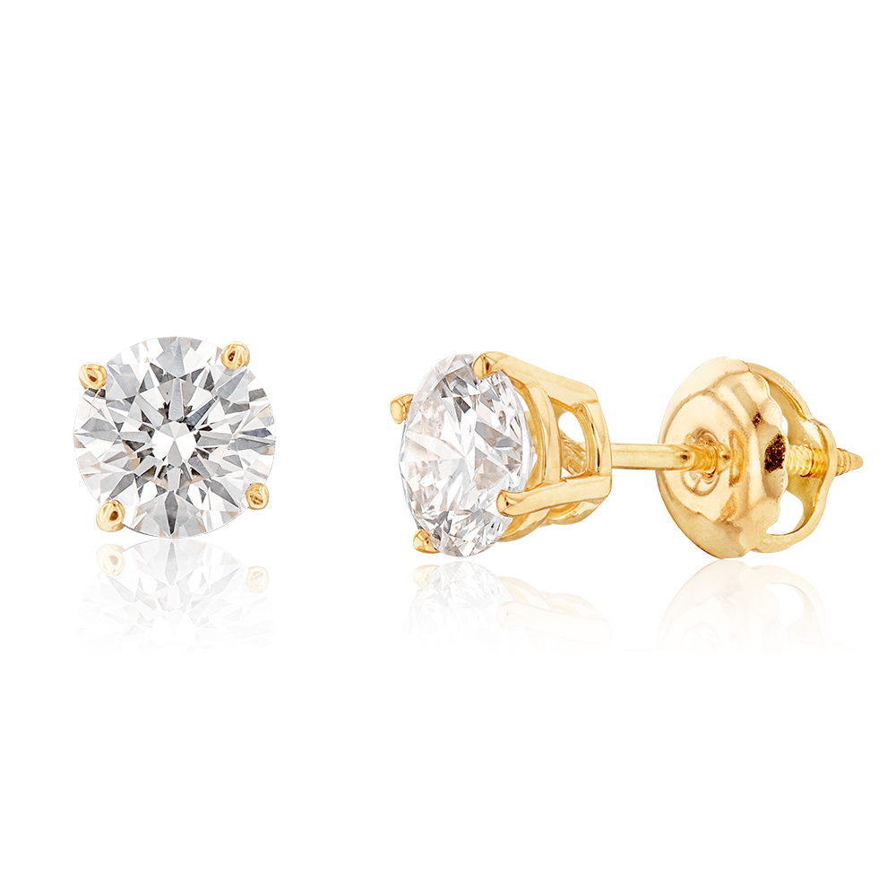 Luminesce Lab Grown Diamond TW=1 Carat Solitaire Stud Earrings in 14ct Yellow Gold