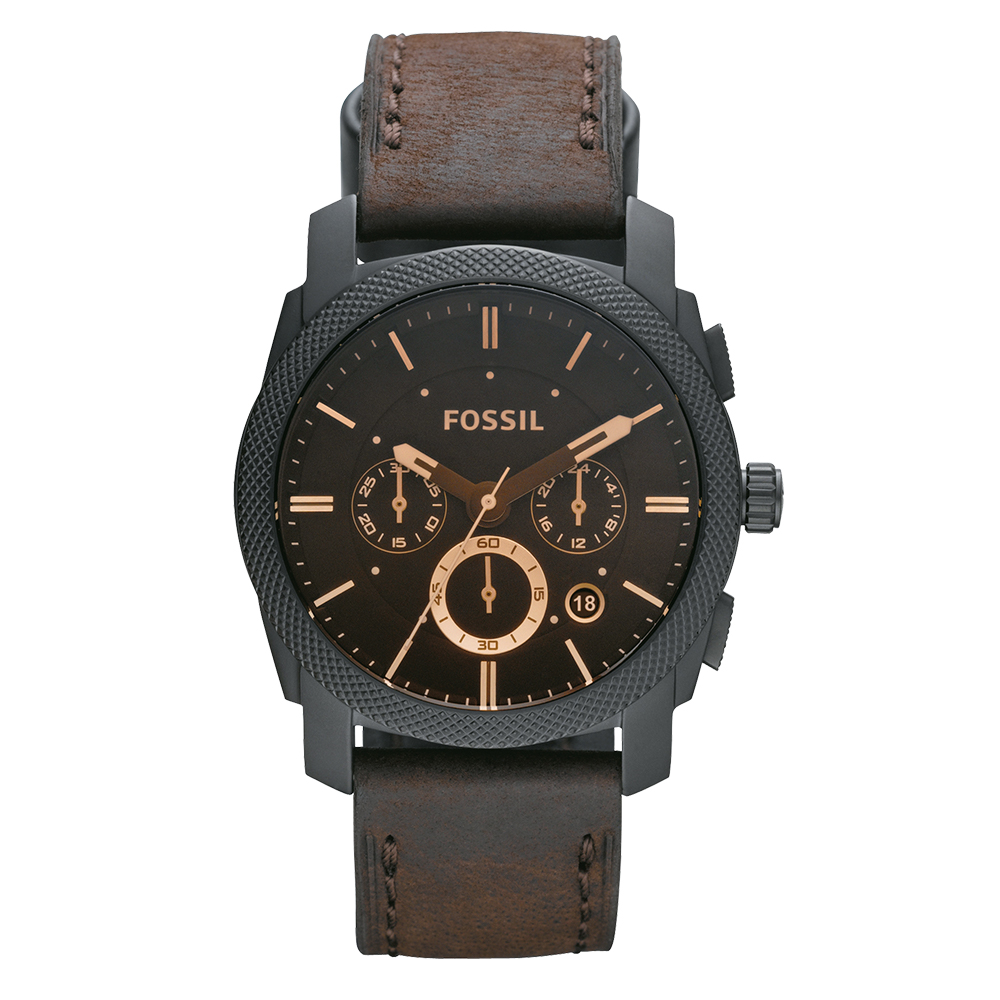 Fossil FS4656 Machine Chronograph Brown Leather Strap