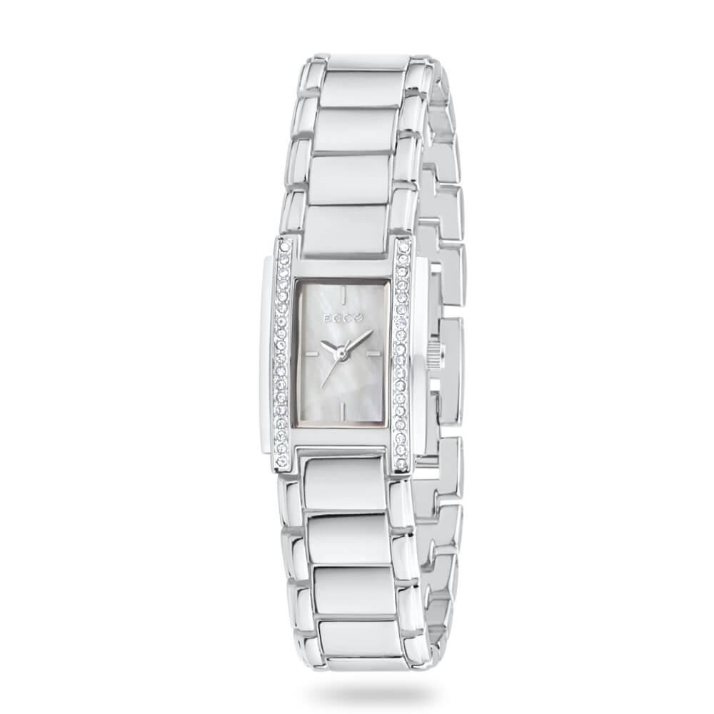 ECC  Stone Set Silver Tone Square Womens Watch