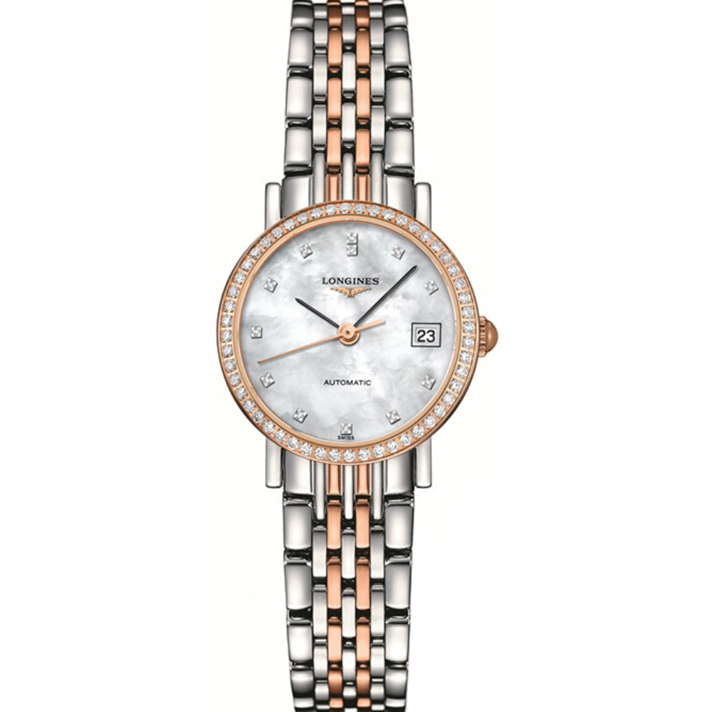 Longines Elegant L43095887 Two-Tone Stainless Steel and Diamond Womens Watch