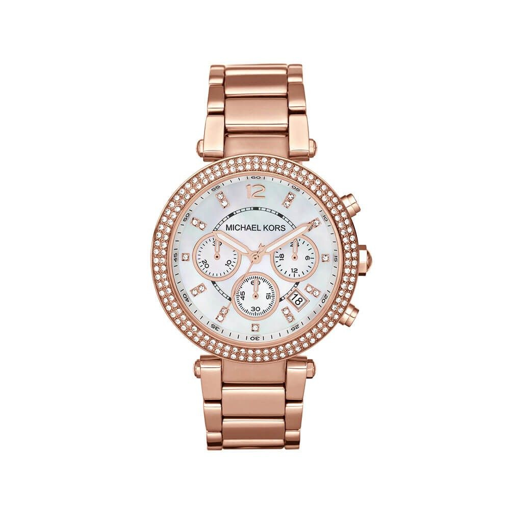 Michael Kors MK5491 Parker Stone Set Rose Gold Tone Womens Watch