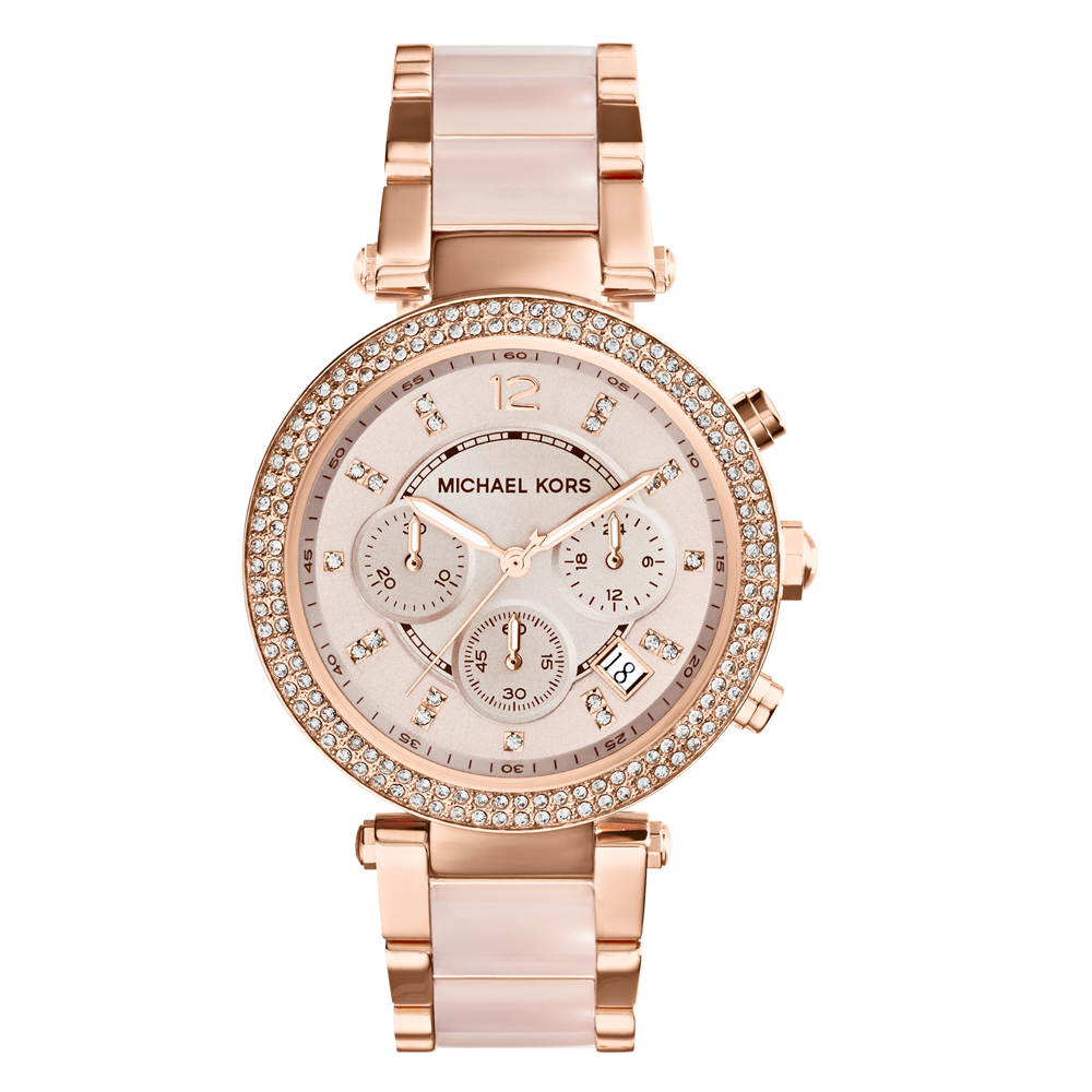 Michael Kors MK5896 Parker Stone Set Rose Gold Tone Womens Watch
