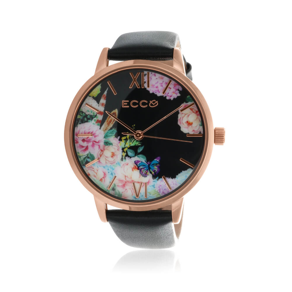 Ellis & Co Collection Floral Black Leather Band Womens Watch