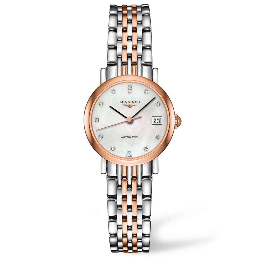 Longines Elegant Collection L43095877 Diamond Set Stainless Steel Womens Watch