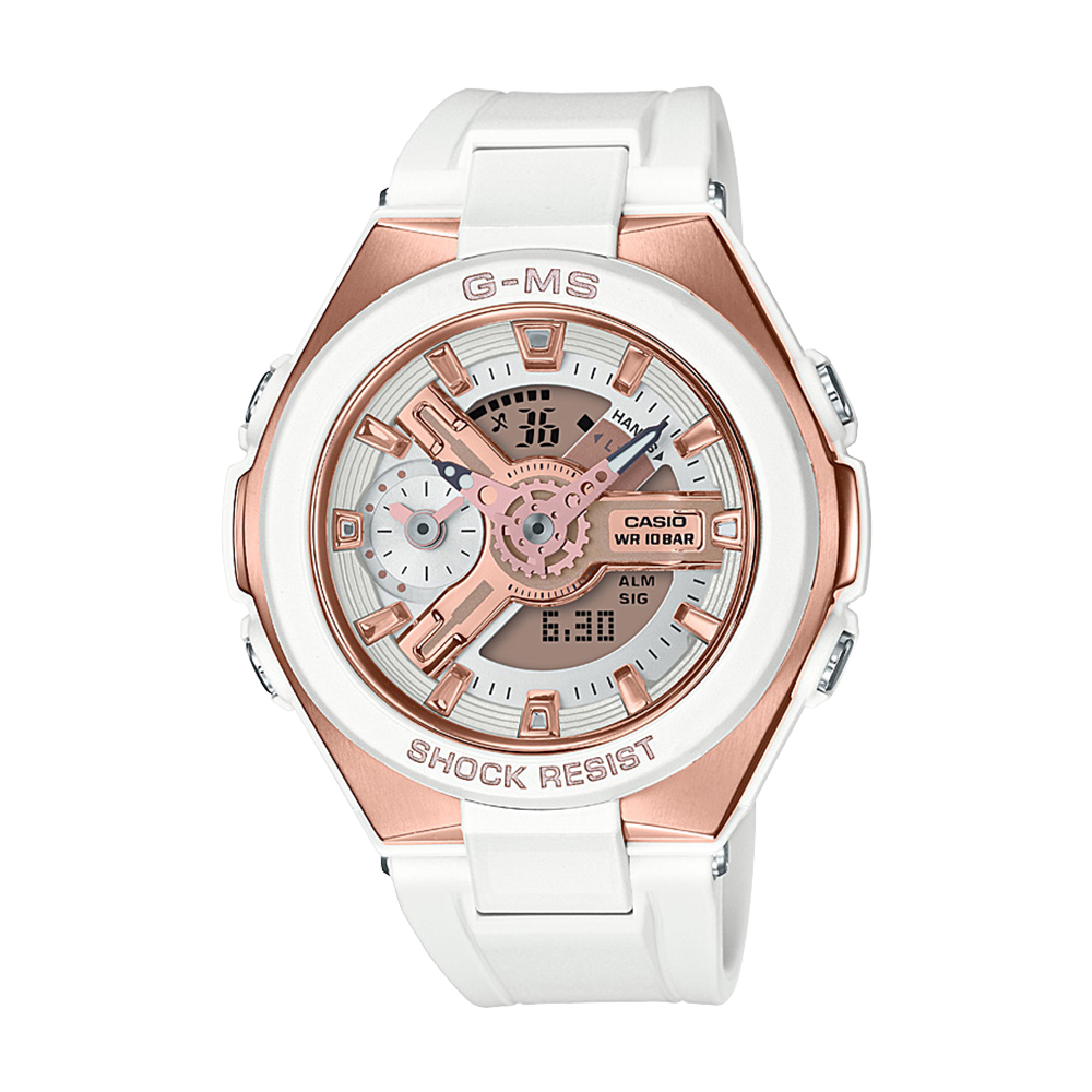 Baby G MSG400G-7A White And Pink Ladies Watch