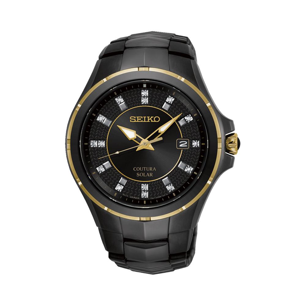 Seiko SNE506P9 Solar Diamond Set Stainless Steel Black Mens Watch