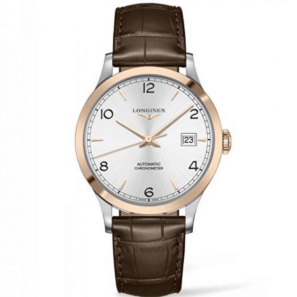 Longines Record L28215762 Brown Leather Mens Watch