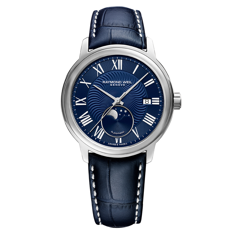 Raymond Weil Maestro 2239STC00509 Moonphase Blue Leather & Stainless Steel Mens Watch
