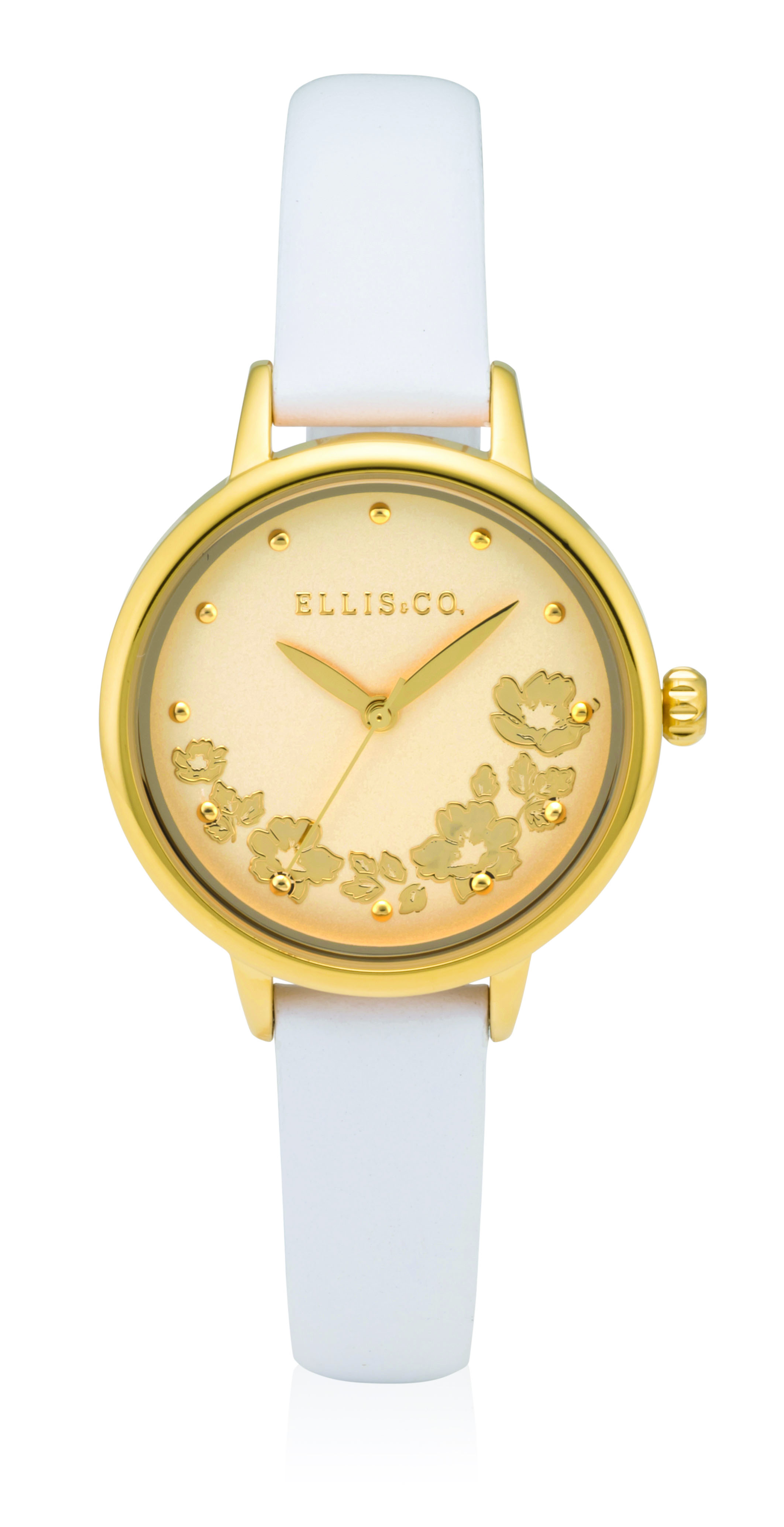 Ellis & Co White Leather Womens Watch