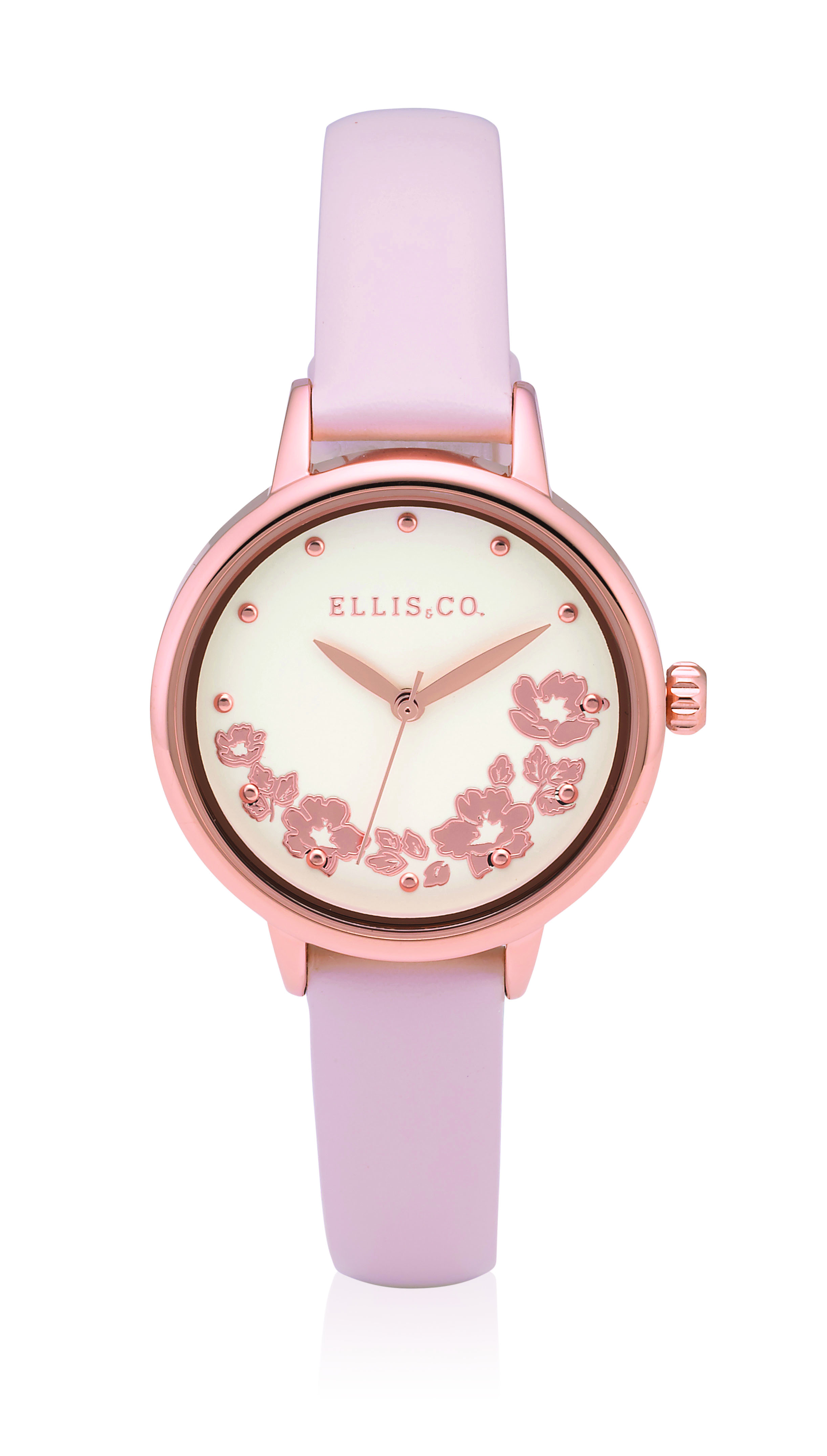 Ellis & Co Pink Leather Womens Watch