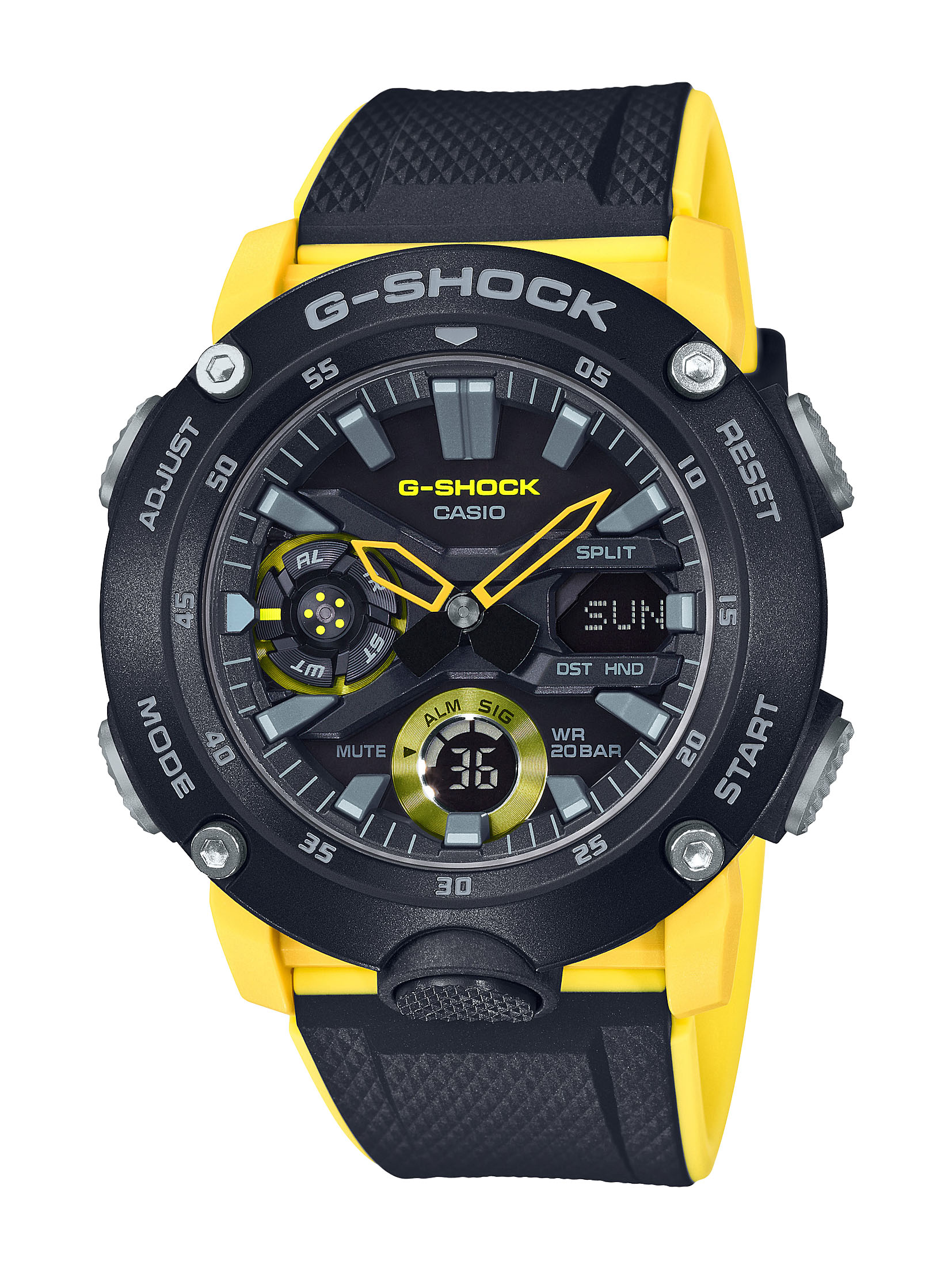 G-Shock Carbon Core Guard GA-2000-1A9DR Black and Yellow Resin Mens Watch