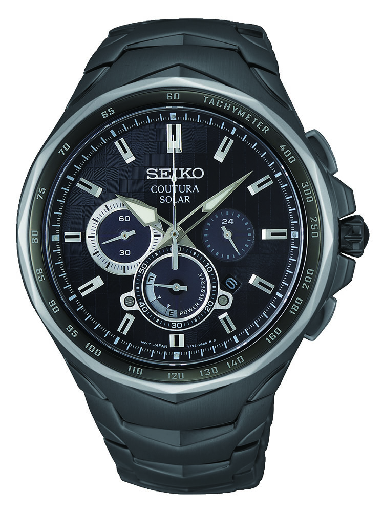 Seiko Coutura SSC755P Black Stainless Steel Mens Watch
