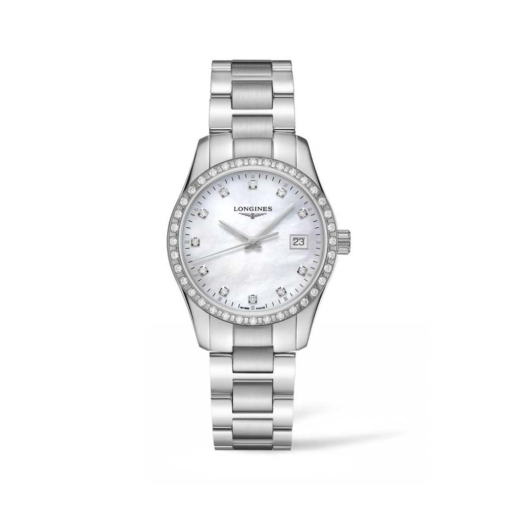 Longines Conquest Classis L23860876 Diamond Set Silver Stainless Steel