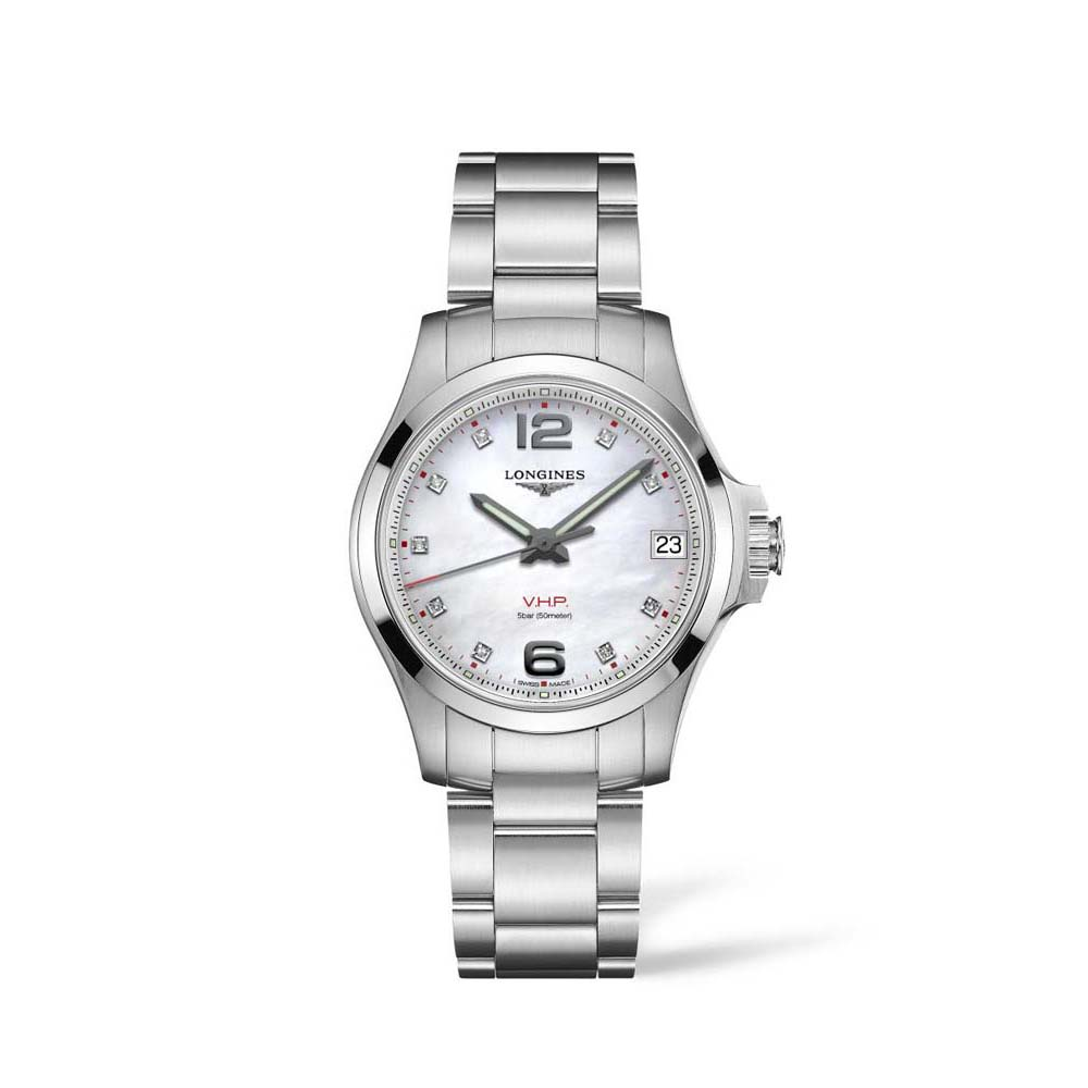 Longines Conquest VHP L33164876  Diamond Set Stainless Steel Womens Watch
