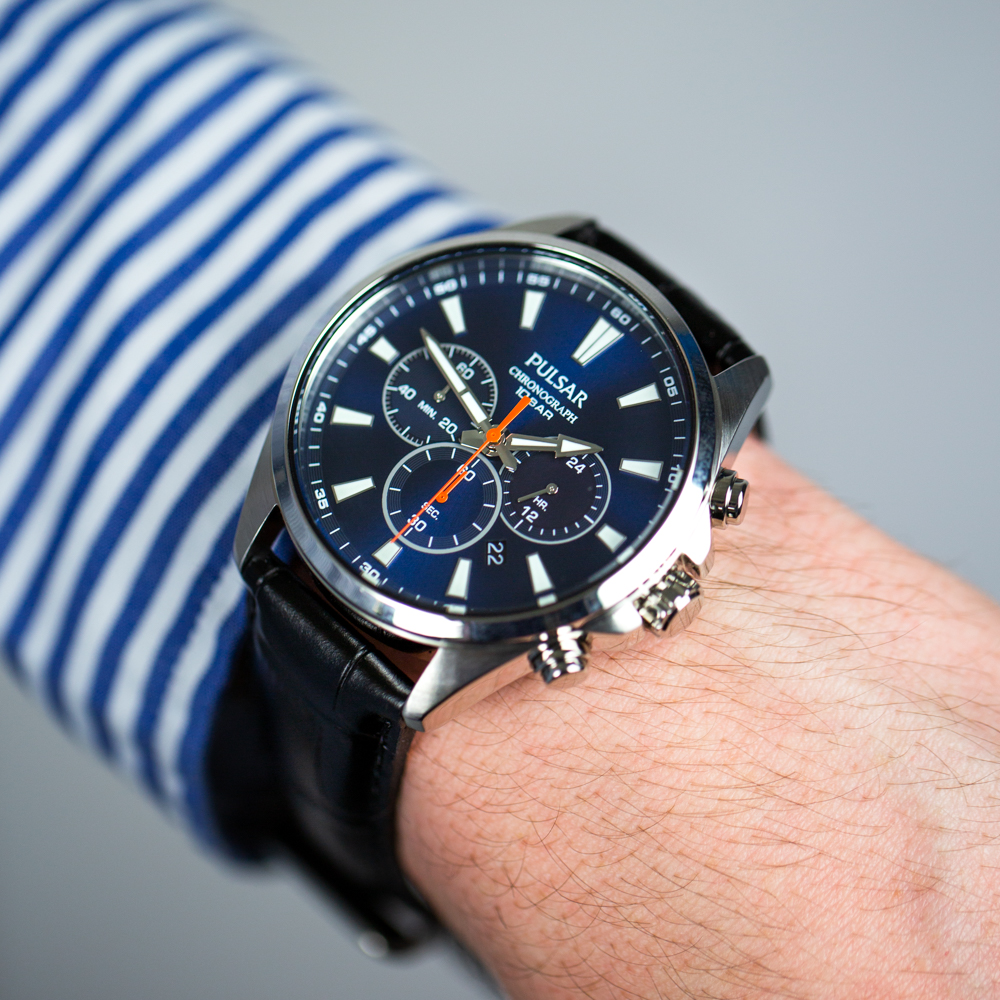 Pulsar PT3A43X Chronograph Black Leather Stainless Steel Mens Watch