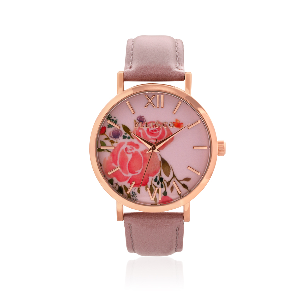 Ellis & Co Holly Floral Dial Rose Leather Band