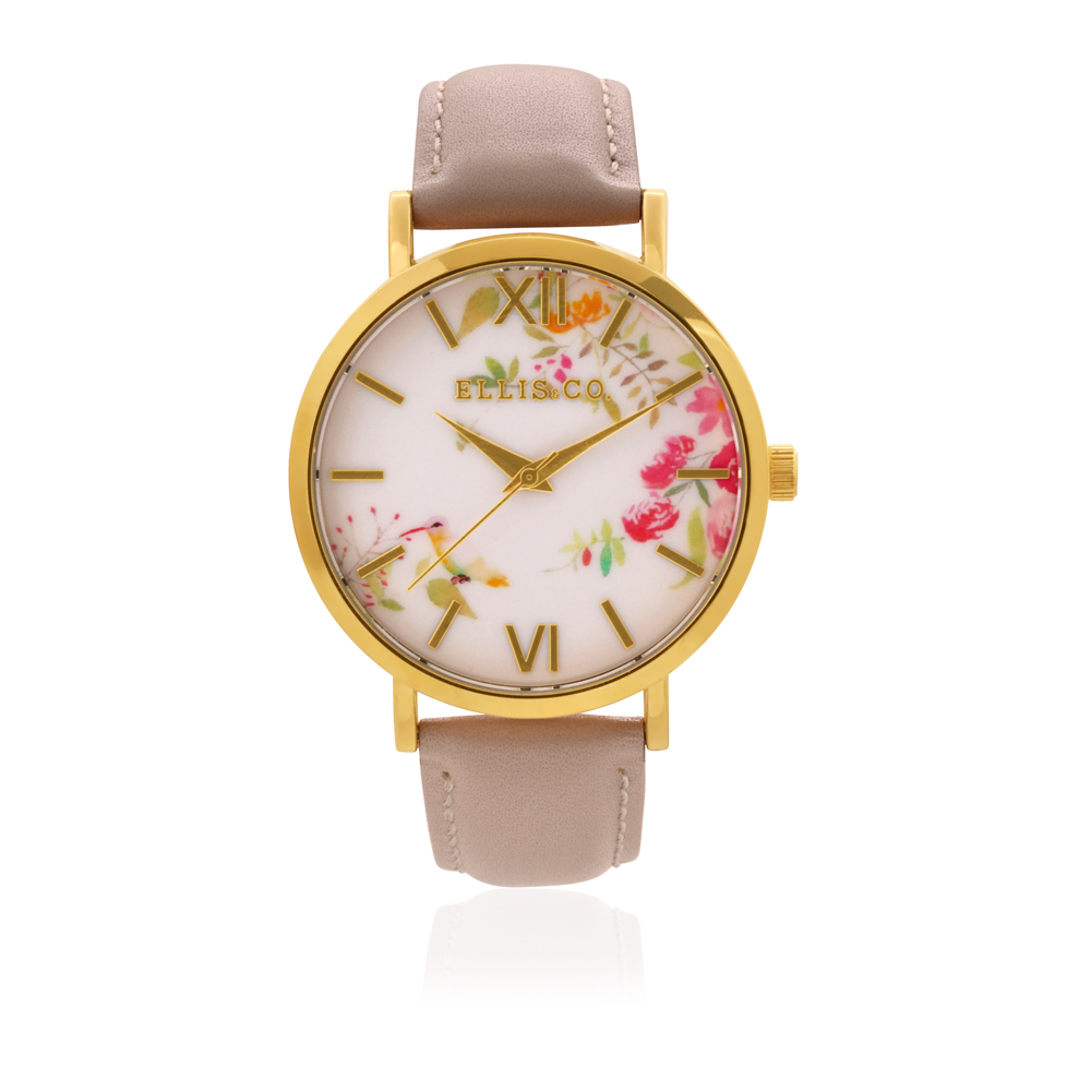 Ellis & Co Holly Floral Dial Nude Leather Band