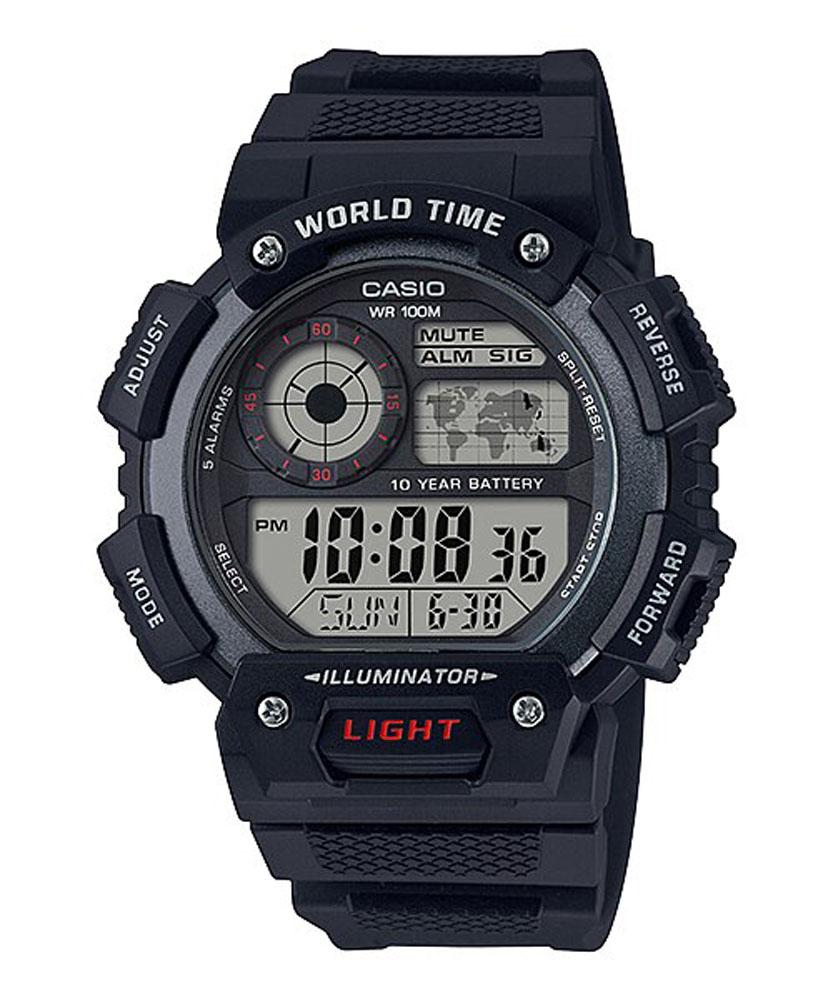 Casio AE1400WH-1A World Time Black Digital Mens Watch