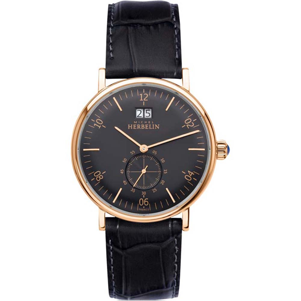 Michel Herbelin Inspiration 18247/PR14 Mens Black Leather Watch