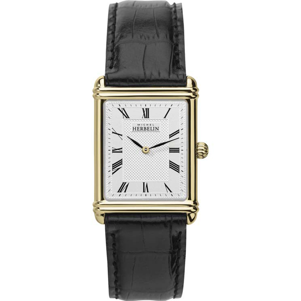 Michel Herbelin Art Deco 17468/P08 Black Leather Mens Watch