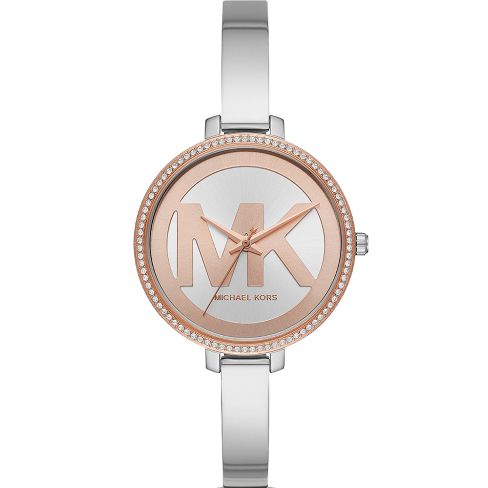 Michael Kors MK4546 Silver and Rose Bangle Watch