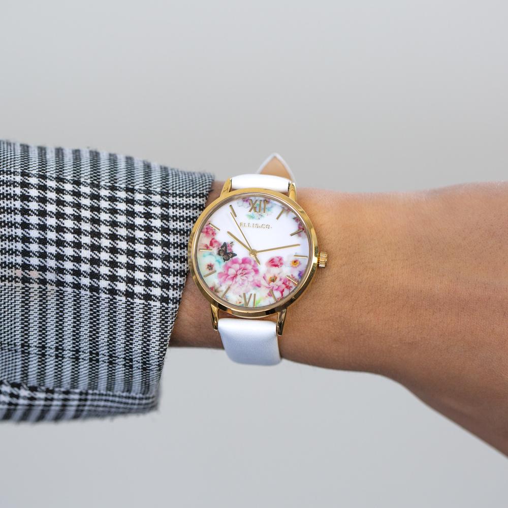 Ellis & Co 'Bloom' White Leather Womens Watch