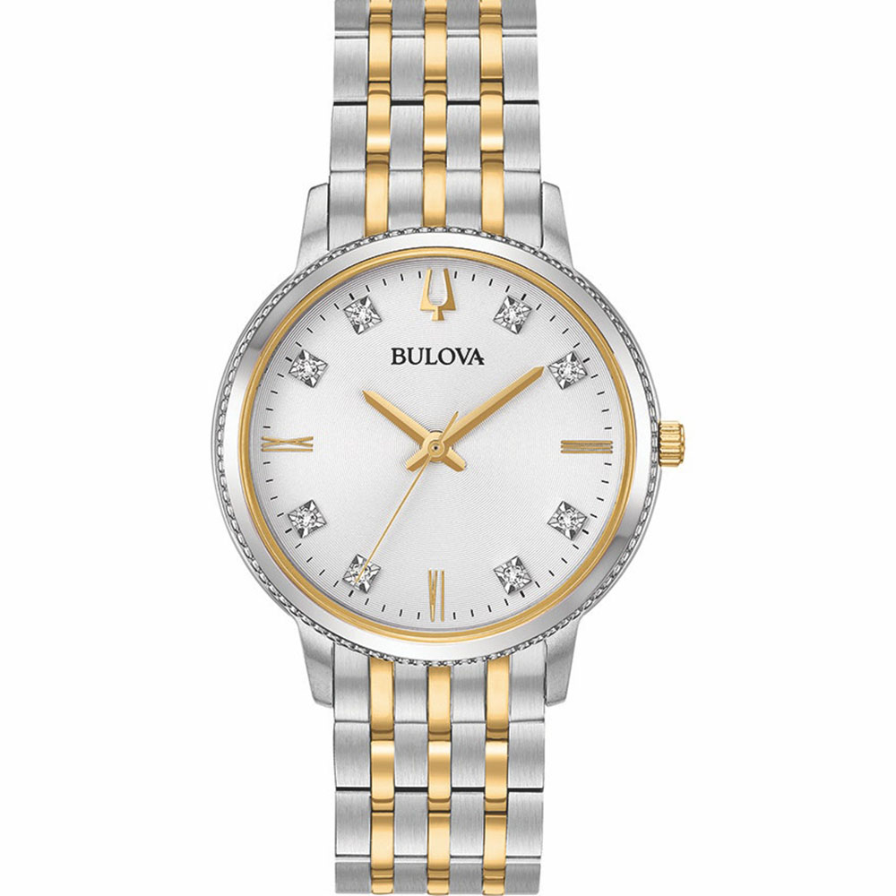 Bulova 98P189 Two Tone Diamond Womens Watch