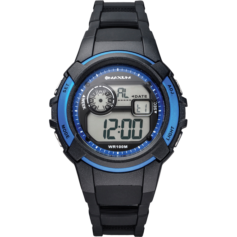 Maxum Button X1676L1 Black Blue Digital Watch