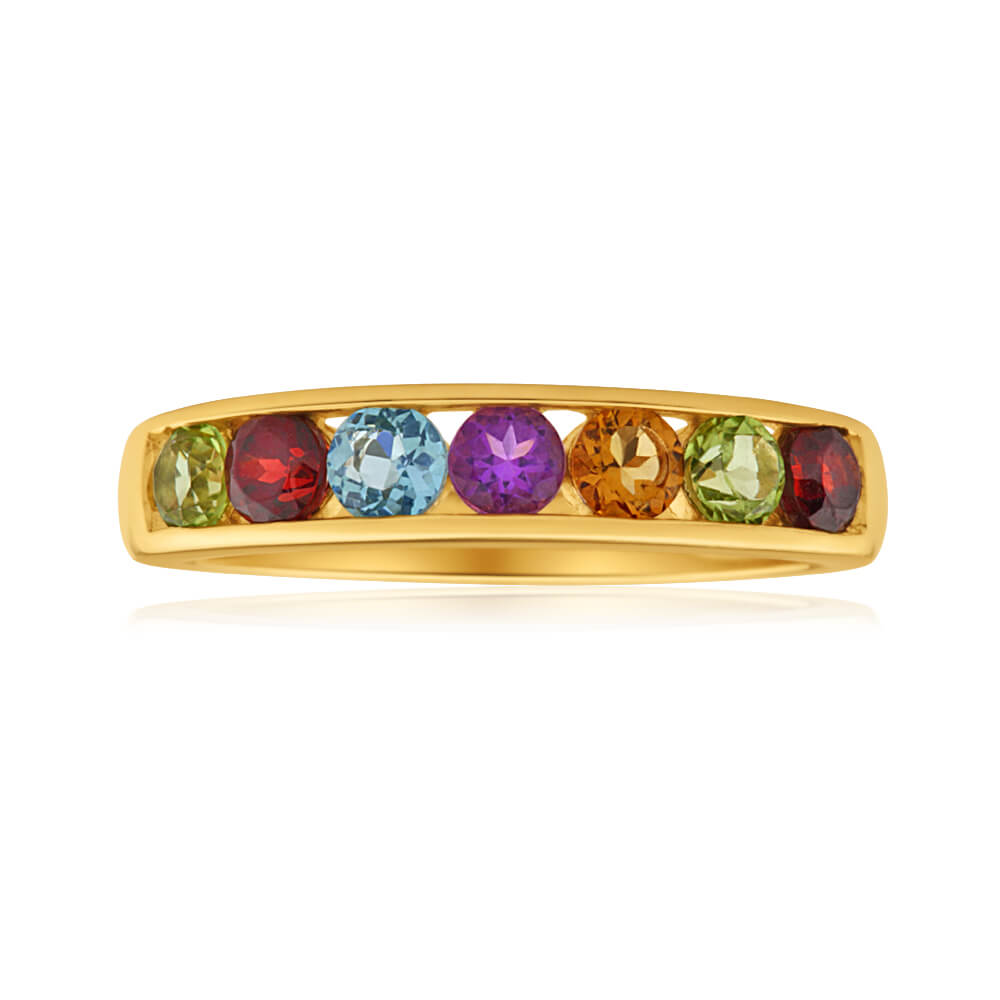 9ct Yellow Gold Amethyst + Blue Topaz + Citrine + Garnet + Peridot Ring