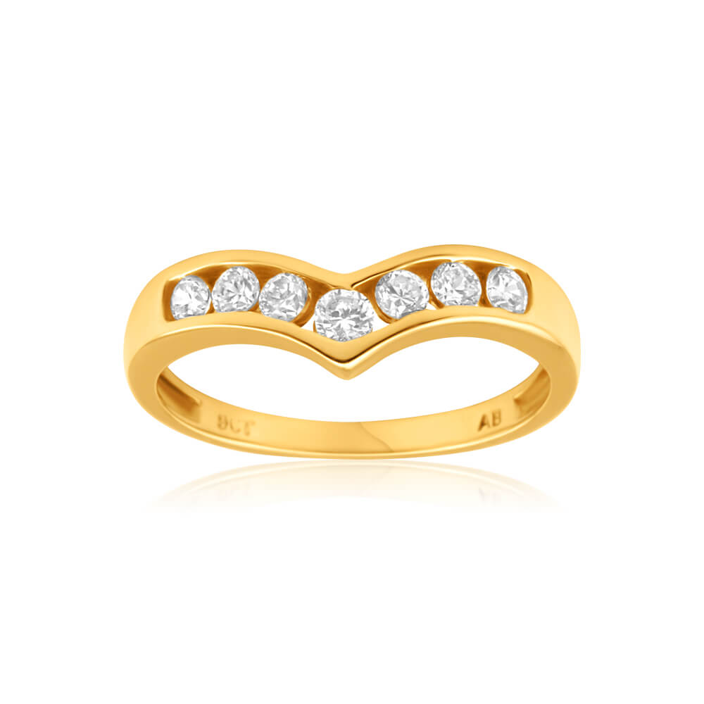 9ct Yellow Gold Wishbone Cubic Zirconia Ring