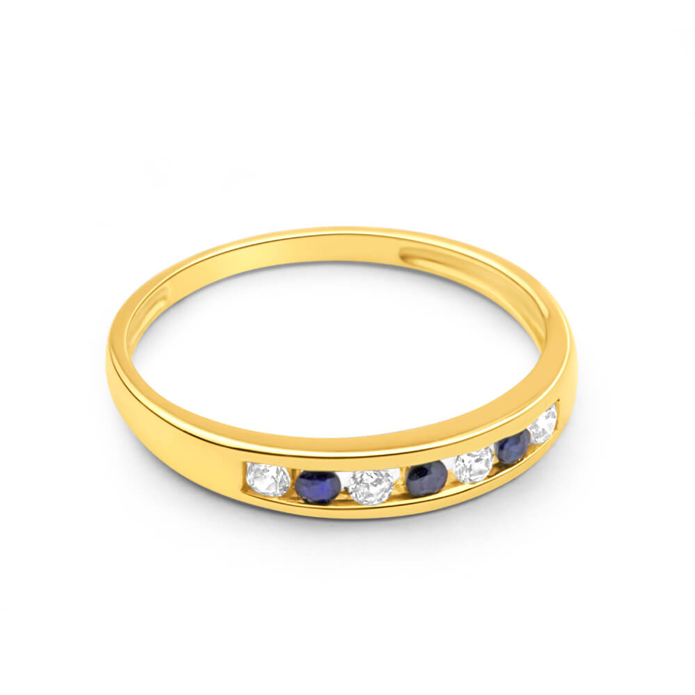 9ct Yellow Gold Natural Sapphire and Cubic Zirconia Channel Set Ring