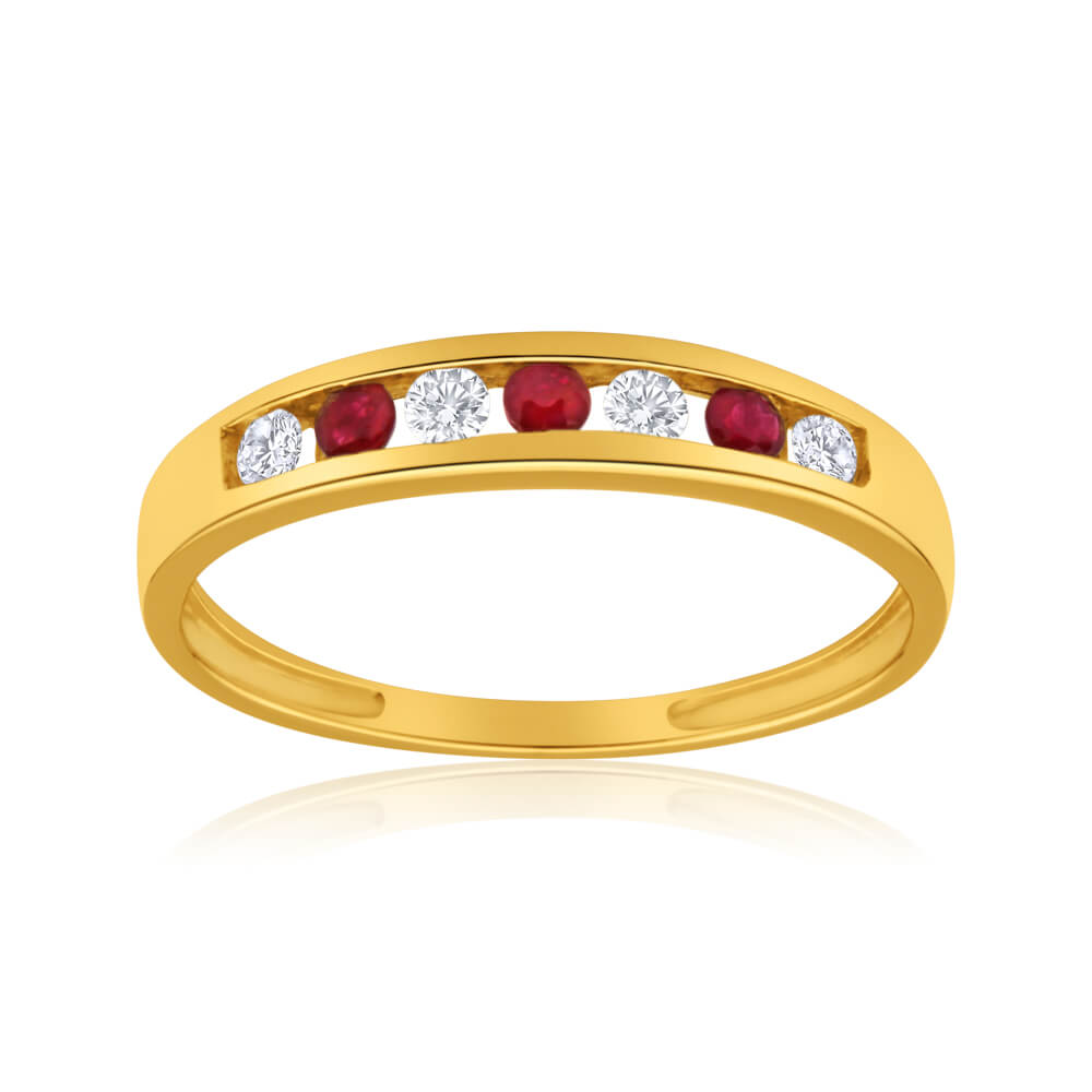 9ct Yellow Gold Created Ruby and Cubic Zirconia Channel Set Ring